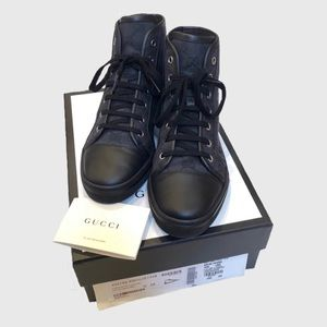 Gucci Monogram Logo Black Leather High Top Sneaker